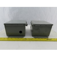 """Hoffman A-606CH Hinged Cover Electrical Box Enclosure 6"""" x 6"""" x 4 Lot of 2"""