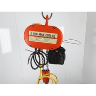 "CM Lodestar Model R 2 Ton 4000LB Electric Chain Hoist 12'6"" Lift 8FPM 3PH Tested"