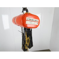 CM Lodestar Model R 2 Ton 4000LB Electric Chain Hoist 12' Lift 8FPM 3PH Tested