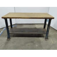 """28"""" x 60"""" x 34"""" Vintage Tall Butcher Block Top Work Bench Craft Table With Shelf"""