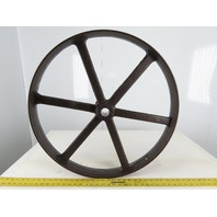 "Antique Cast Iron 26"" x 2-5/8"" Wide Flat Belt Spoked Pulley 1-1/2"" Bore"