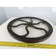 "33-5/8"" OD Early Industrial Flat Belt Curved Spoke Pulley"