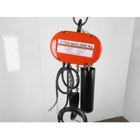 "CM Lodestar Model R 2 Ton 4000LB 3Ph Electric Chain Hoist 15'6"" Lift 8FPM Tested"