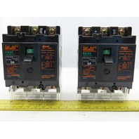 Fuji Electric EA33 BB3AEA-005 Auto Circuit  Breaker 5A 3 Pole 50/60Hz Lot of 2