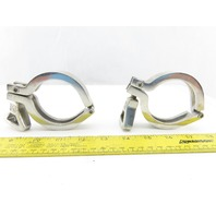 "2"" Stainless Steel Tri Clover Style Hinged Sanitary Clamp Lot Of 2"