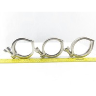 "3"" Stainless Steel Tri Clover Style Hinged Sanitary Clamp Lot Of 3"