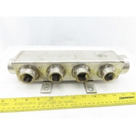 """2-1/2""""x2-1/2""""x10"""" Stainless Steel Water Manifold 1-1/2"""" 3/4"""" 1"""" NPT Ports 150PSI"""