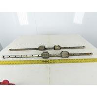 "THK UN0A6 HSR25 25mm Linear Ball Bearing Guide Rail 37"" OAL Lot Of 2"