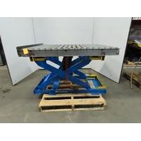 "BISHAMON 4000LB Self Leveling Scissor Lift Table 51""x43"" Roller Top 11""-32"" Ht"