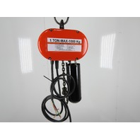 CM Lodestar Model L 1 Ton 2000LB Electric Chain Hoist 12' Lift 16FPM Tested