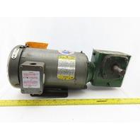 "Baldor CM3554T 1/2Hp Gear Motor 208-230/460V 3Ph 10:1 Ratio 7/8"" Shaft 174RPM"