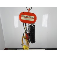 "CM Lodestar Model R 2 Ton 4000LB Electric Chain Hoist 16'6"" Lift 3Ph 480V 8FPM"
