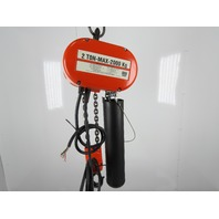CM Lodestar Model R 2 Ton 4000LB Electric Chain Hoist 18' Lift 3Ph 480V 8FPM
