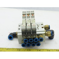 SMC SY3440-5LOZ Manifold Assembly W/3 Pneumatic Solenoid Valves