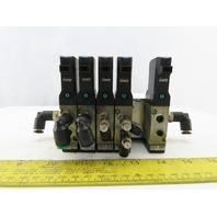Kuroda RCS2413 5 Pneumatic Solenoid Valves W/Manifold Block  24VDC