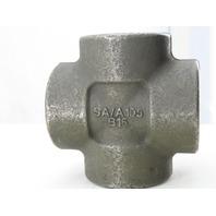 "SA/A105 B16 2"" NPT Malleable Black Iron Cross Pipe Fitting 4-Way Female"