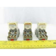 Square D 8501RSD43M1P14V53 Ice Cube Relay 24VDC Coil W/ Socket Lot Of 3