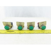 Telemecanique ZBV-B3 NO NC Contacts LED Illuminated  GREEN Switches Lot of 4