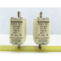 Siemens 3NE8021 Fuse 100A 600VAC 2 In Box
