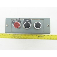Allen Bradley 3 Hole Push Button Electrical Enclosure W/ 2 Black 1 Red