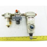 "SMC AMG150-03C 1/4"" Pneumatic Filter Separator Drain Catch Lubricator Assembly"