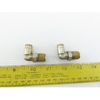 "1/4"" NPT x 1/4"" Tube Push To Connect Stainless Steel 90° Elbow Lot Of 2"
