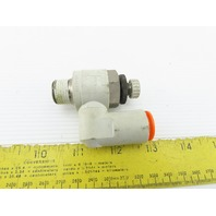 "SMC 3/8"" NPT x 1/2"" Tube Push To Connect Offset Flow Control Fitting"