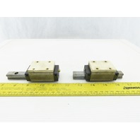 """THK SHS15 UN9E26 Size 15 4-1/4"""" Long Guide Rail And Linear Bearing Lot Of 2"""