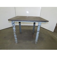 "42"" x 36"" x 36""T Thick Top Steel Work Bench Assembly Table From Studebaker Plant"