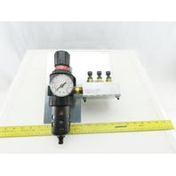 Parker 06E32A18AC Pneumatic Air Filter Regulator To 3 Way Manifold Block 150psi