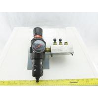 Parker  06E32A18AC Air Pneumatic Filter Regulator To 3 Way Manifold Block 150PSI