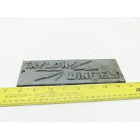 "Taylor Winfield Cast Iron Name Plate Vintage Welder 2-1/2"" x 8-1/4"""