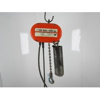 CM Lodestar Model L 1 Ton 2000LB Electric Chain Hoist 18' Lift 16FPM 3PH 480V