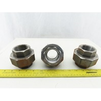"SA105N 1-1/2"" NPT Black Pipe Union Lot Of 3"