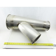 """9"""" Stainless Steel Ductwork Reduced To 6"""" Branch Wye Fitting Rolled Ends"""