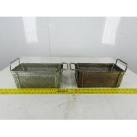 "Rectangular Expanded Metal Parts Washer Dip Basket 5""x10-1/2"" 4-1/4"" Lot of 2"