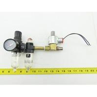 """Norgren PTH-200-A1AA Pneumatic Air Filter Regulator Lubricator 1/4"""" W/Solenoid"""