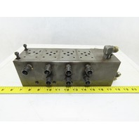 14 Port Steel Hydraulic Manifold With 4 ISO 4401 Valve Spaces