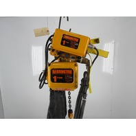 Harrington NER010LD 1Ton Electric Chain Hoist 14' Lift 16FPM 3Ph W/Power Trolley