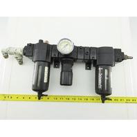 "Schrader Air 1/2"" Inline Pneumatic Air Line Filter Regulator Lubricator FRL"