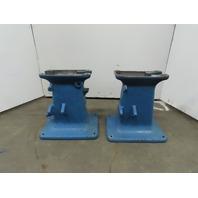 "Vintage Cast Iron Industrial Machine Legs Base 23x18x24-1/4"" Steampunk Lot of 2"
