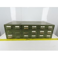 "18 Drawer Industrial Metal Filing Parts Cabinet 33-3/4""W X17""D X 11""H"