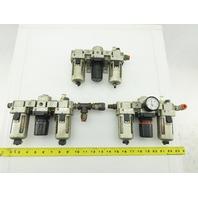 """SMC NAF3000-N03 1/4"""" NPT Air Line Filter Regulator Lubricator Assembly Lot Of 3"""