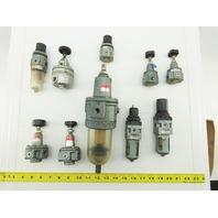 """SMC AR200 AR100 1/4"""" 1/8"""" NPT Mixed Lot Airline Filter Regulator Lot Of 10"""