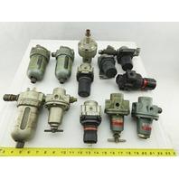 "SMC AR400 NAR4000-N04 1/2"" NPT Airline Lubricator Regulator Mixed Lot Of 11"