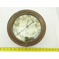 "Crosby Mfg. Antique Vintage Brass 8"" Steam Pressure Gauge 0-5000PSI Steampunk"
