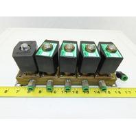"CKD GAB4126 5 Solenoid Valve Bank Manifold Assembly 110V 1/4"" Ports"