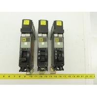 Square D FH16020A 20A Single Pole Circuit Breaker 277V Lot of 3