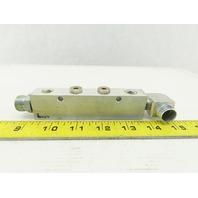"Legris Anodized Aluminum Manifold (4) 1/4"" NPT x (2) 3/8 NPT"