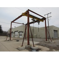4 Ton 20'x30' Outside Free Standing Bridge Crane System w/2 Harrington Hoists